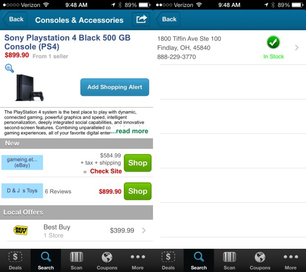 Check the stock of local stores for a PS4 with BuyVia's App.