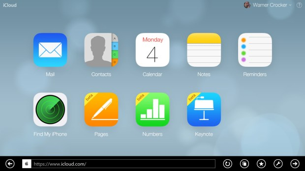 iCloud open in browser on Surface 2