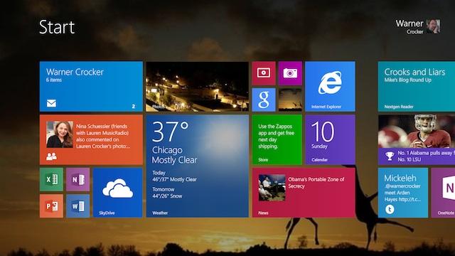 Start Screen with Desktop Background