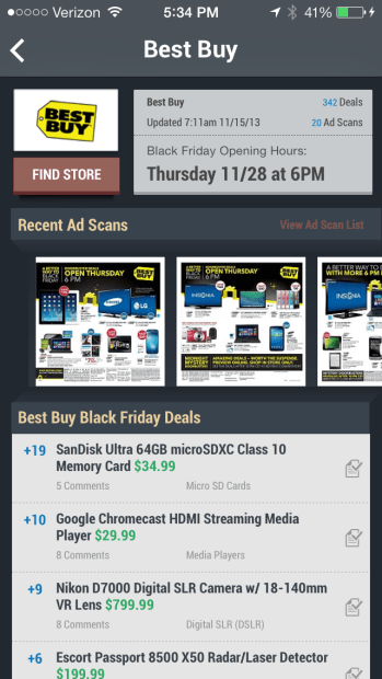 The Slickdeals Black Friday 2013 app offers a very nice layout and access to Slickdeals forums.