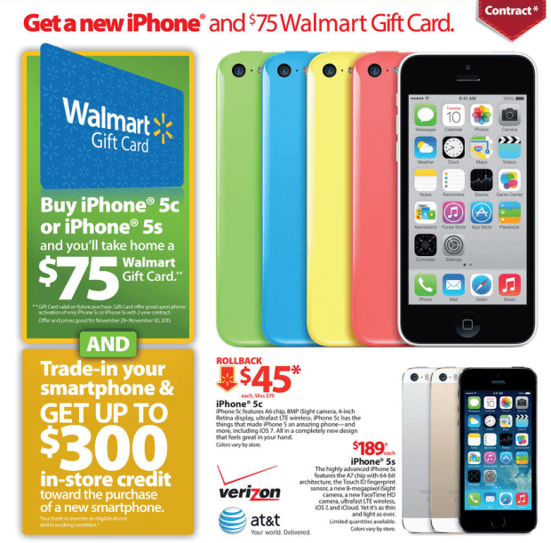 iphone deals black friday walmart black friday 2013 ad includes iphone 5s 15239