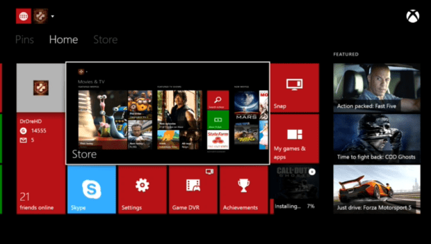 The Xbox One home screen.
