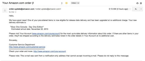 amazon xbox one preorder email