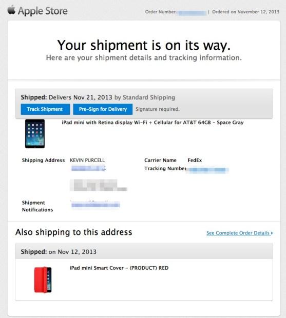 apple shipping notification ipad mini retina