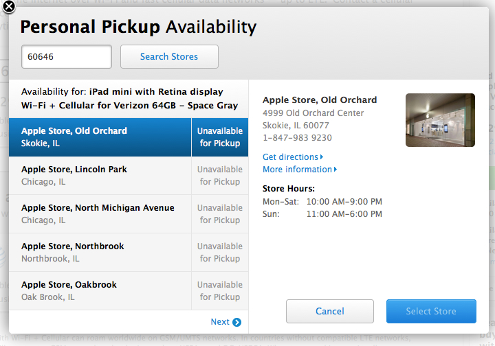 Apple announces Personal Pickup for iPad mini with Retina Display