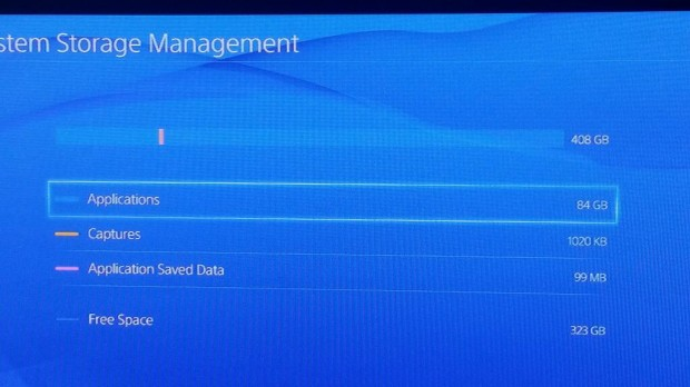 Twitter user CJ's screenshots of the amount of storage his PS4 has available.