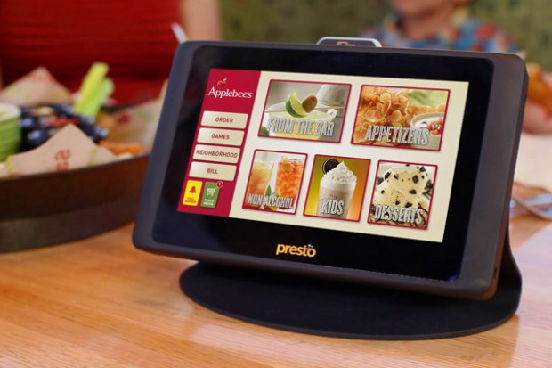 presto ordering tablets at applebees