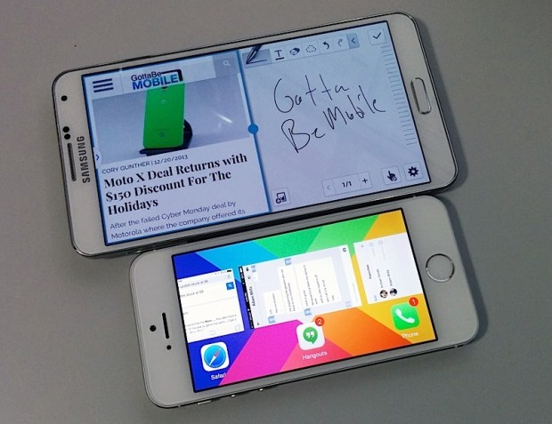 The Galaxy Note 3 delivers multitasking that actually lets you use two apps at once, compared to the iPhone 5s, which is about switching and some background processes.