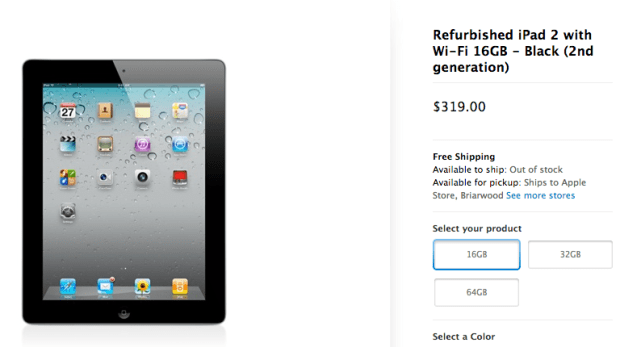 The Apple Store offers iPad deals on refurbished iPads.