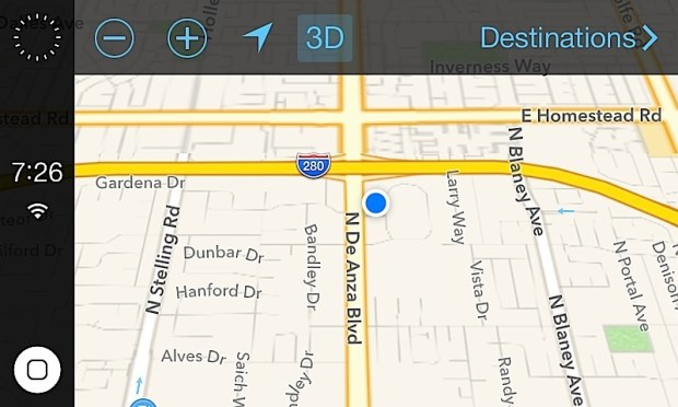 The iOS in the Car screenshot shows Apple maps with a home button and options on the screen.