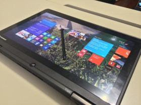 The Lenovo ThinkPad Yoga in tablet mode with included stylus.