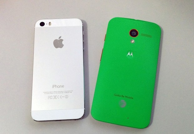 Apple offers three colors, Motorola offers 18 and a bamboo back.