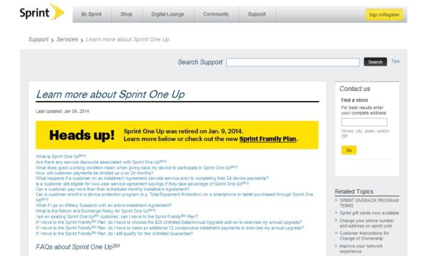 Sprint has discontinued its One Up upgrade program.