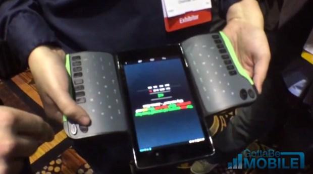 The TREWGrip Tablet keyboard is a bluetooth keyboard with rear facing keys.