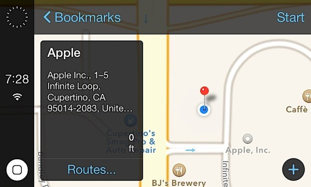 Pick and choose a destination using Apple Maps on the iOS in the Car system using a car's touch screen display.