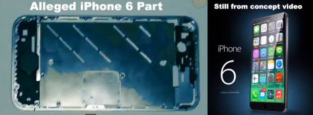 The alleged iPhone 6 part on the left and a iPhone render on the channel of the individual that sponsored the video.