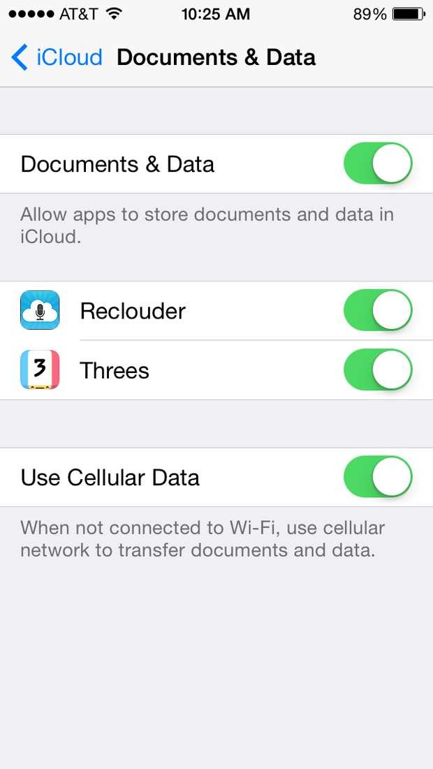 icloud documents and data settings