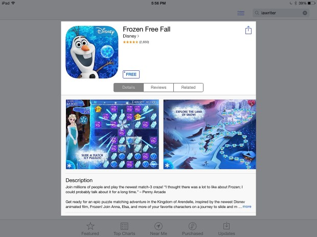 The Disney Movies Anywhere app includes links to apps like Frozen Free Fall.