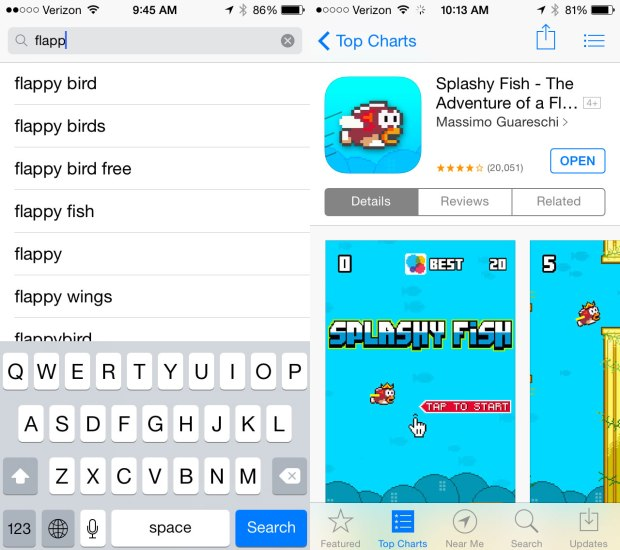 Apple cracks down, but Splashy Fish survives as a Flappy Bird clone.
