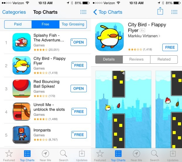 Flappy Bird inspired games still exist in the top 10.