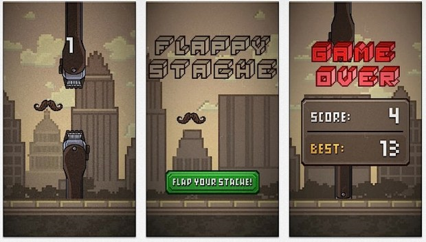 Flappy Stache follows close behind the bearded hipster.