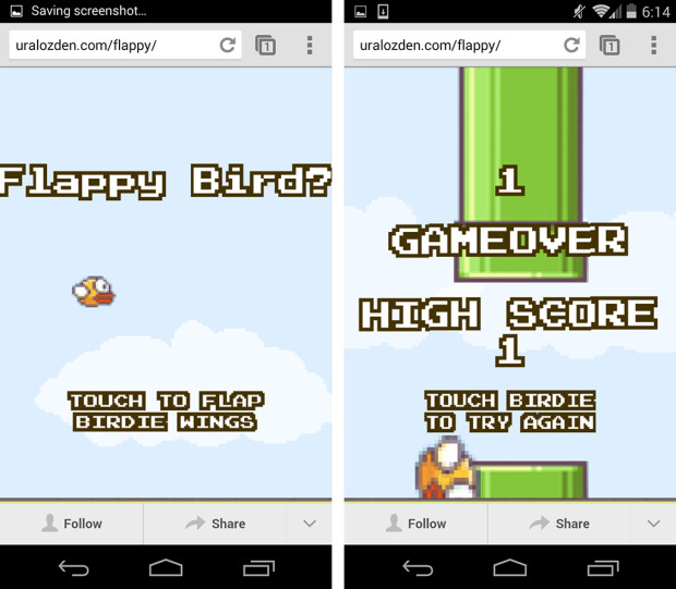 Flappy Bird Online in HTML5 works on a computer, iPhone, iPad or Android.
