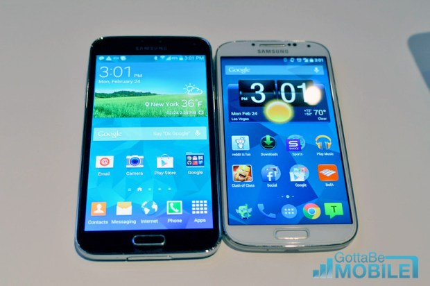 The Galaxy S5 display is a 5.1-inch 1080P display compared to a Galaxy S4 with a 5-inch 1080P display.