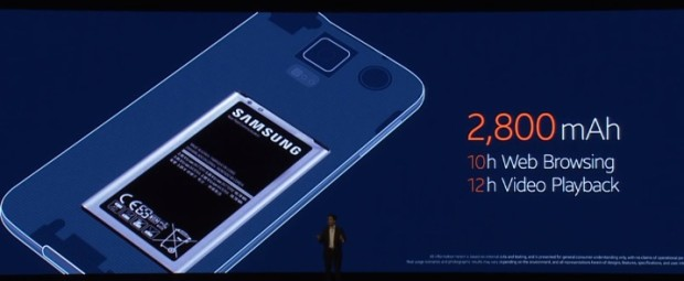 The Galaxy S5 features a larger battery.