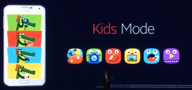 One tap turns on Kids mode for the Galaxy S5.