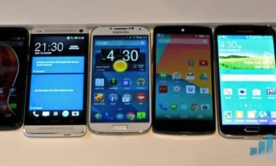Samsung Galaxy S5 Size comparison showing screen sizes from iPhone 5s to Galaxy Note 3.