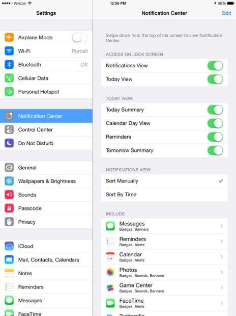 notification center settings