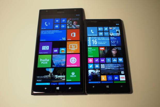 Left to right: Lumia 1520 (AT&T), Lumia Icon (Verizon Wireless)