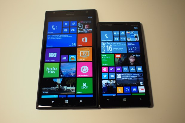 Left to right: Lumia 1520 (AT&T), Lumia Icon (Verizon Wireless)