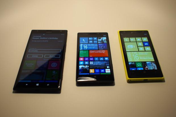 Size comparison--left ro right: Nokia Lumia 1520, Nokia Icon, Nokia Lumia 1020