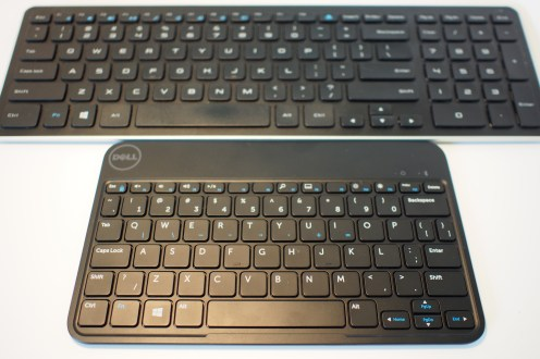 Comparing the Dell Venue 8 Pro's Bluetooth keyboard accessory to a full-sized Dell wireless keyboard for the XPS 18 system, you can see that the keys are about the same size for the regular alpha-numeric keys, but spacing between keys are slightly reduced to fit in the smaller surface area.
