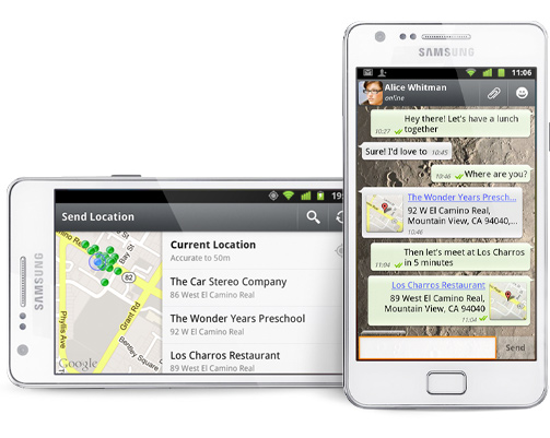 Use WhatsApp to share a location.