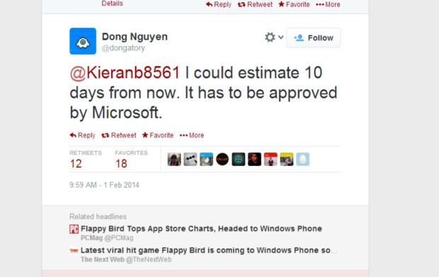 A tweet confirming Flappy Bird for Windows Phone is on the way.