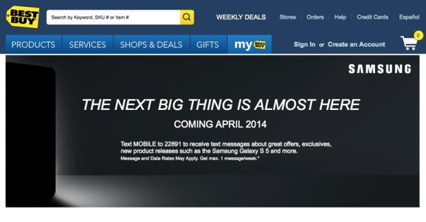 Best Buy will carry the Galaxy S5 in April.