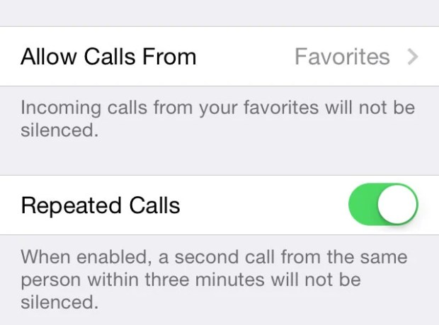 Choose which contacts can get through Do Not Disturb in iOS 7.