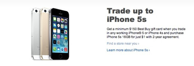 Best Buy is offering a iPhone 5s deal to get the phone for $1 with a trade-in.