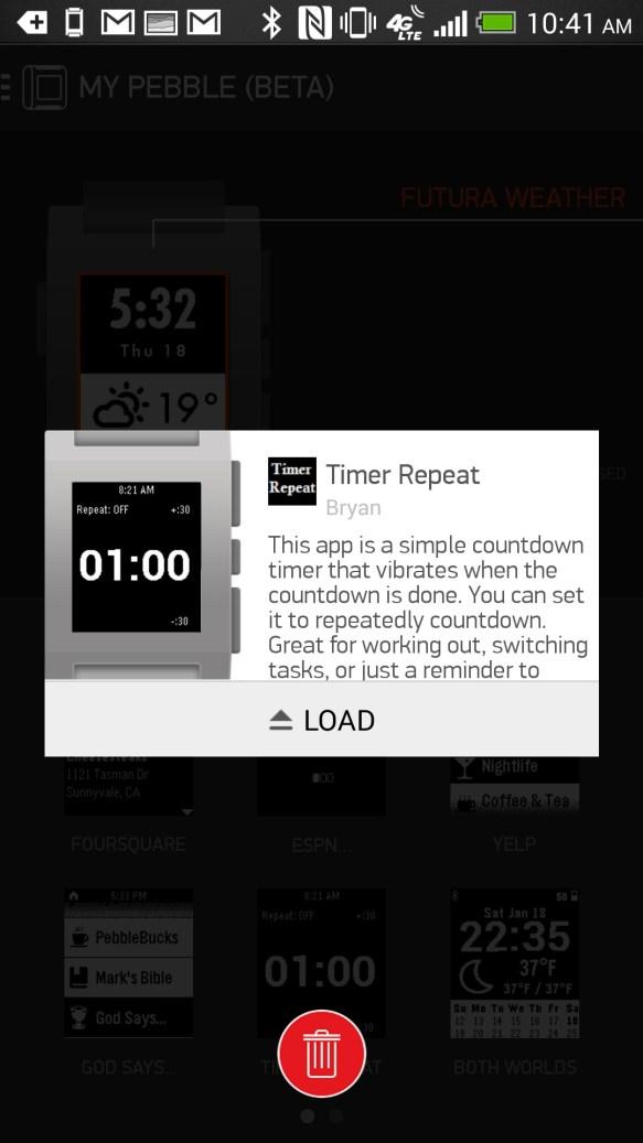 pebble app loading app on watch
