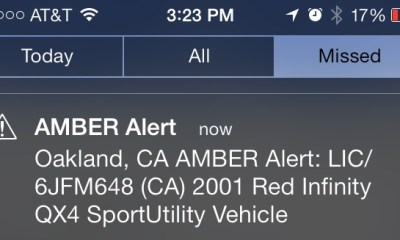 An iPhone Amber alert.