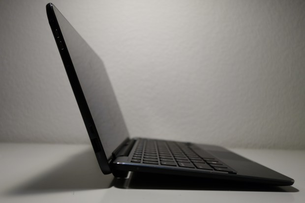 Maximum tilt angle of the tablet when docked to the keyboard. Note that in Ultrabook mode, the screen doesn't tilt back far at all.
