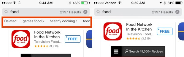 Related search can help users find the best free iPhone apps by offering new searches.