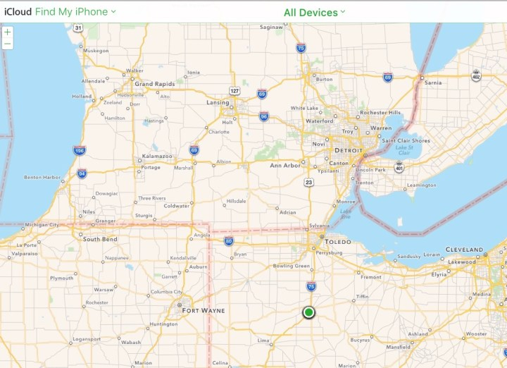 Find your devices on the iCloud Find My iPhone page.