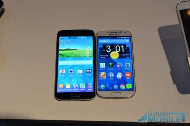 The Galaxy S5 is a little bit bigger than the Galaxy S4.