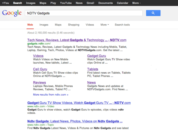 The old Google Search results.