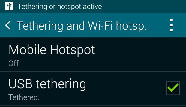 Users can also opt for USB tethering on the Galaxy S5.
