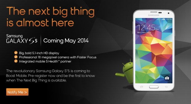 The Boost Mobile Galaxy S5 release will land in May.
