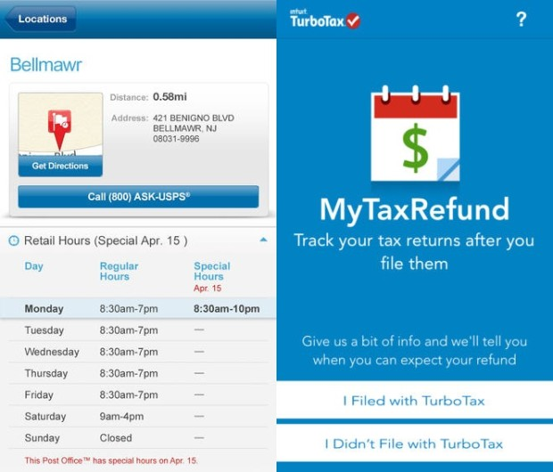 See how late the Post Office is open and track your tax refund.